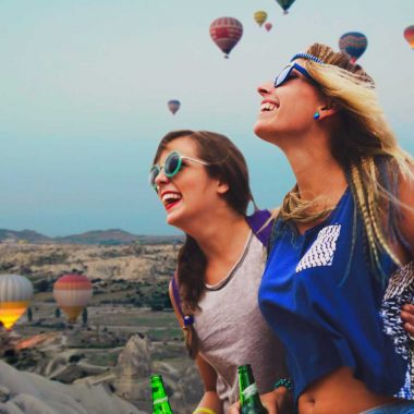 Young pretty happy women having fun time together